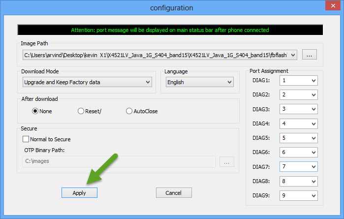 Apply Configuration Settings MultiDownloader Tool