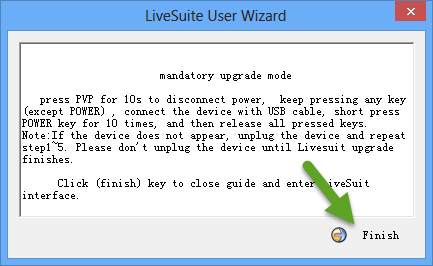 Finish LiveSuit User Wizard