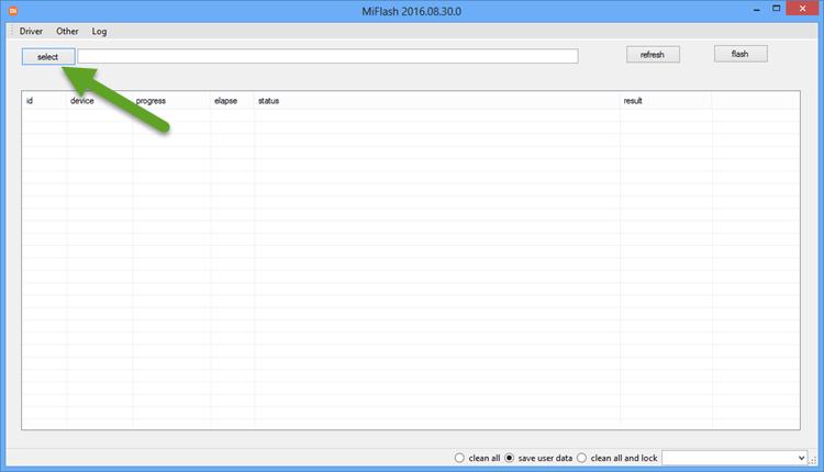 Select Firmware Folder Xiaomi Mi Flash