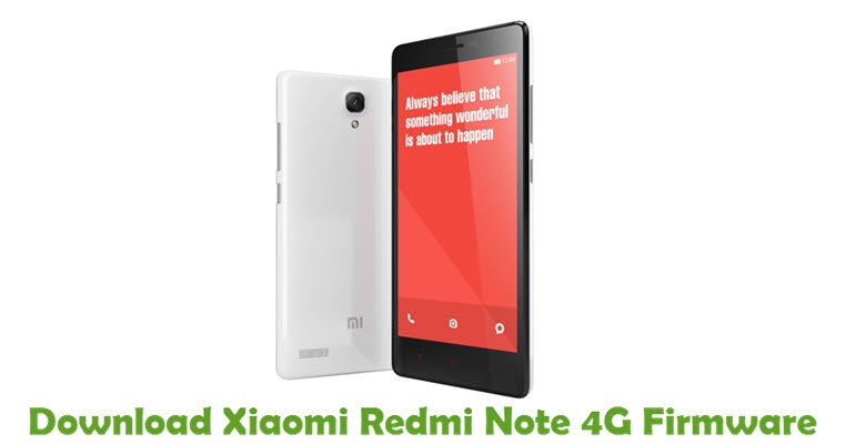 Download Xiaomi Redmi Note 4G Firmware
