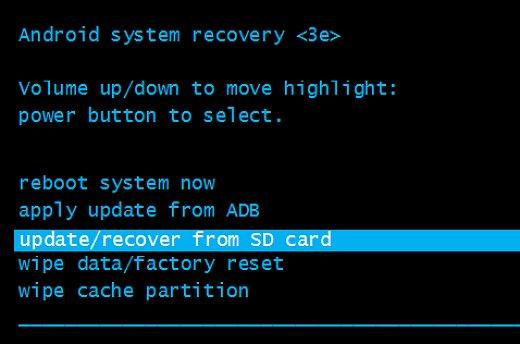 Update Recover From SD Card